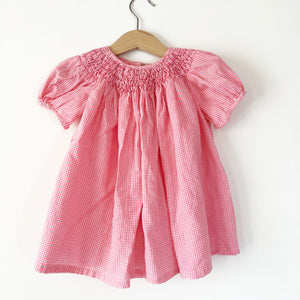 Gingham Smocked Baby Dress size 12 months