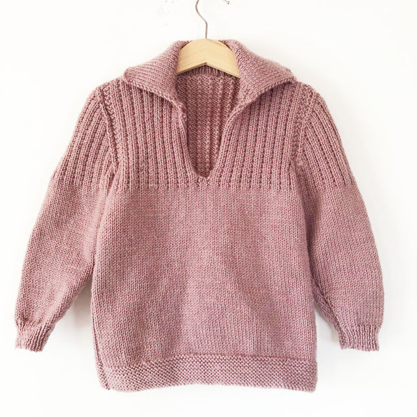 Little Hand knit Mauve sweater size 2-3