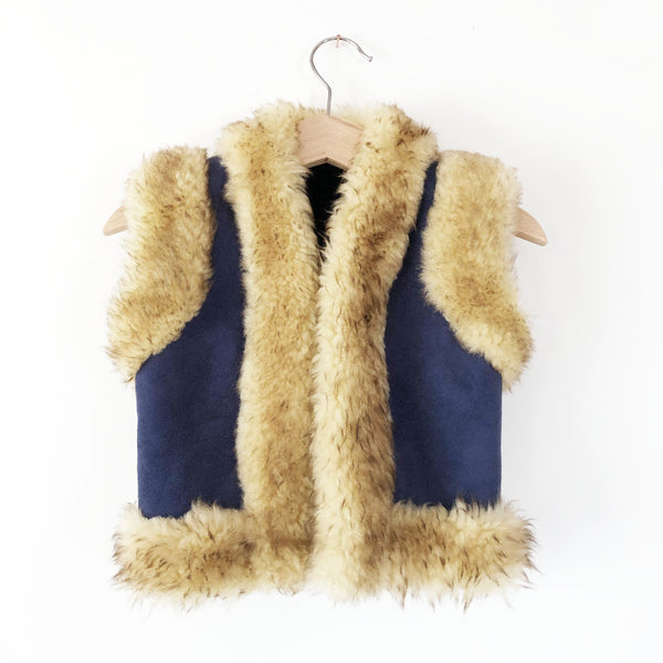 Shearling Vest with fur trim size 2-3