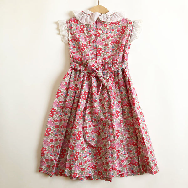 Floral Print Vintage Hand Smocked Dress size 5-6