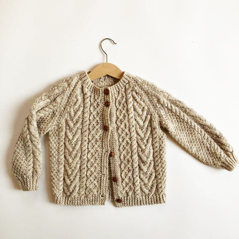 Sweet Arran Hand Knit Cardigan size 4-5