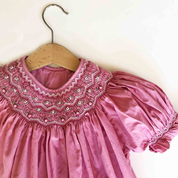 Rose Smocked Vintage Dress size 2-3