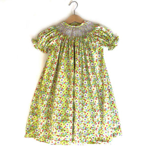Floral Ditsy Smocked Vintage Dress size 2-3