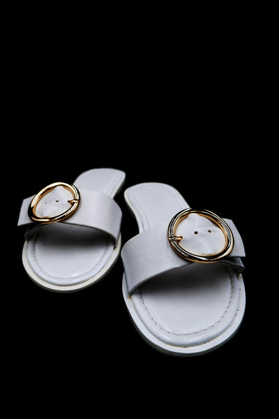 WHITE BUCKLE SANDAL