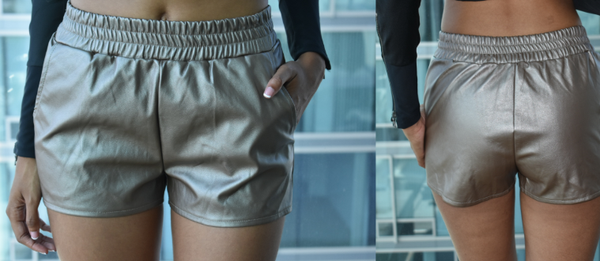 Bronze Leather Shorts