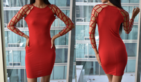 Red Cut Out Dress (Medium)