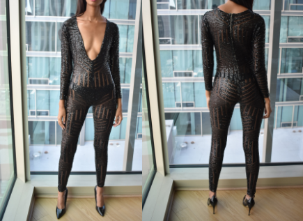 Mesh and Sequence Jumpsuit (Small)