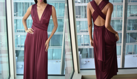 Maroon Silk Dress (Medium)