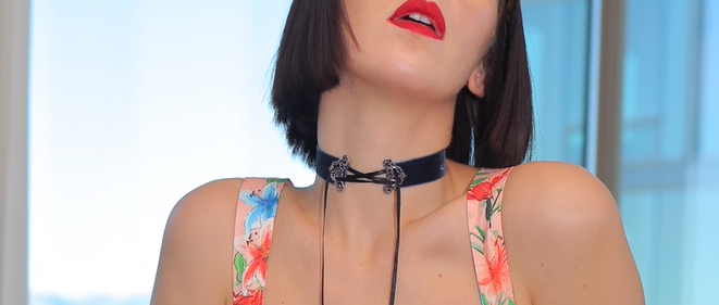 "Black ""Lace Up"" Choker"