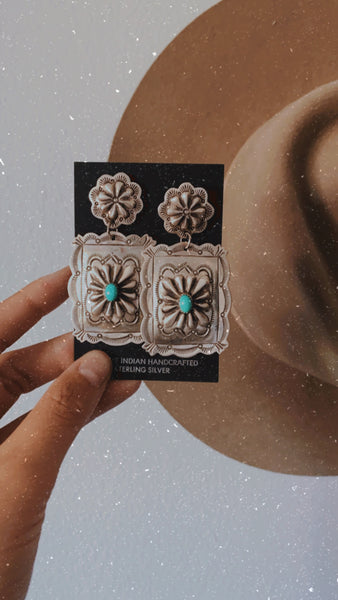 The Chelsea Stamped Earrings || Turquoise