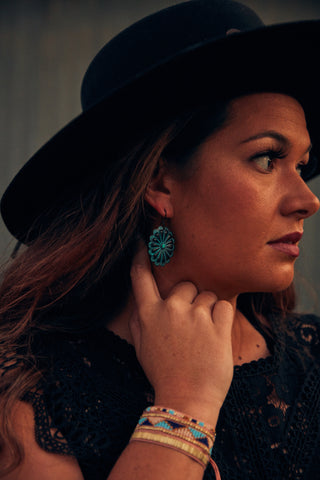 Ranch Hand: Concho Fish Hook Earrings
