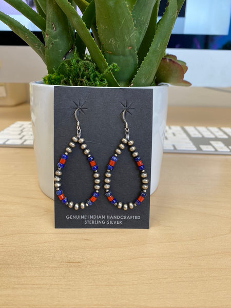 Brianna Navajo Pearls with Coral and Lapis