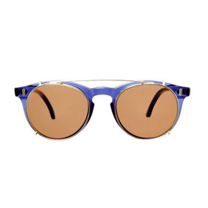 The Bespoke Dudes Eyewear Pleat Dark Blue / Tobacco