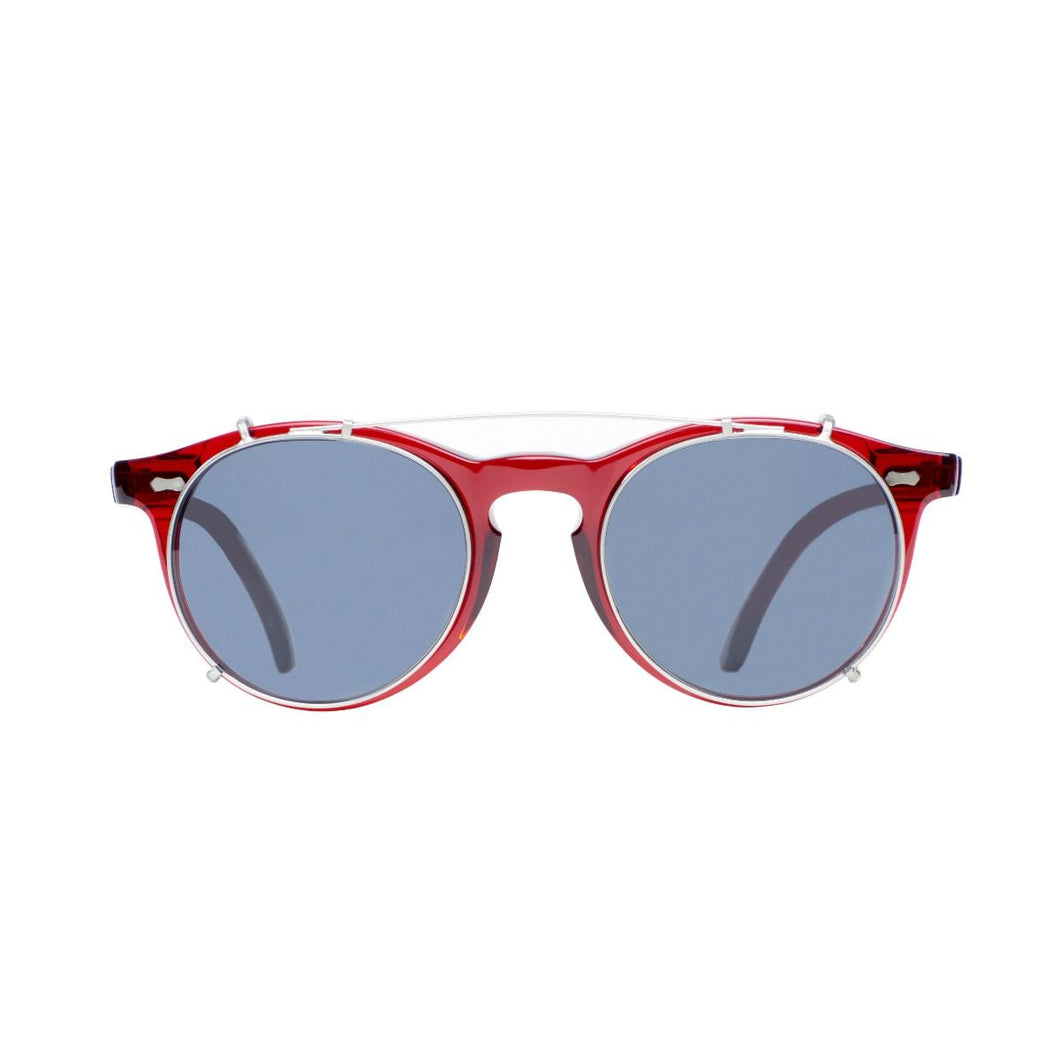 The Bespoke Dudes Eyewear Pleat NGA Red / Gradient Grey