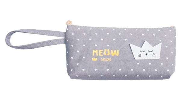 Premium Cosmetic Pouch Meow Grey