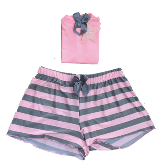 Pink & Grey Striped Shorts