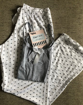 White Gray Polka dots