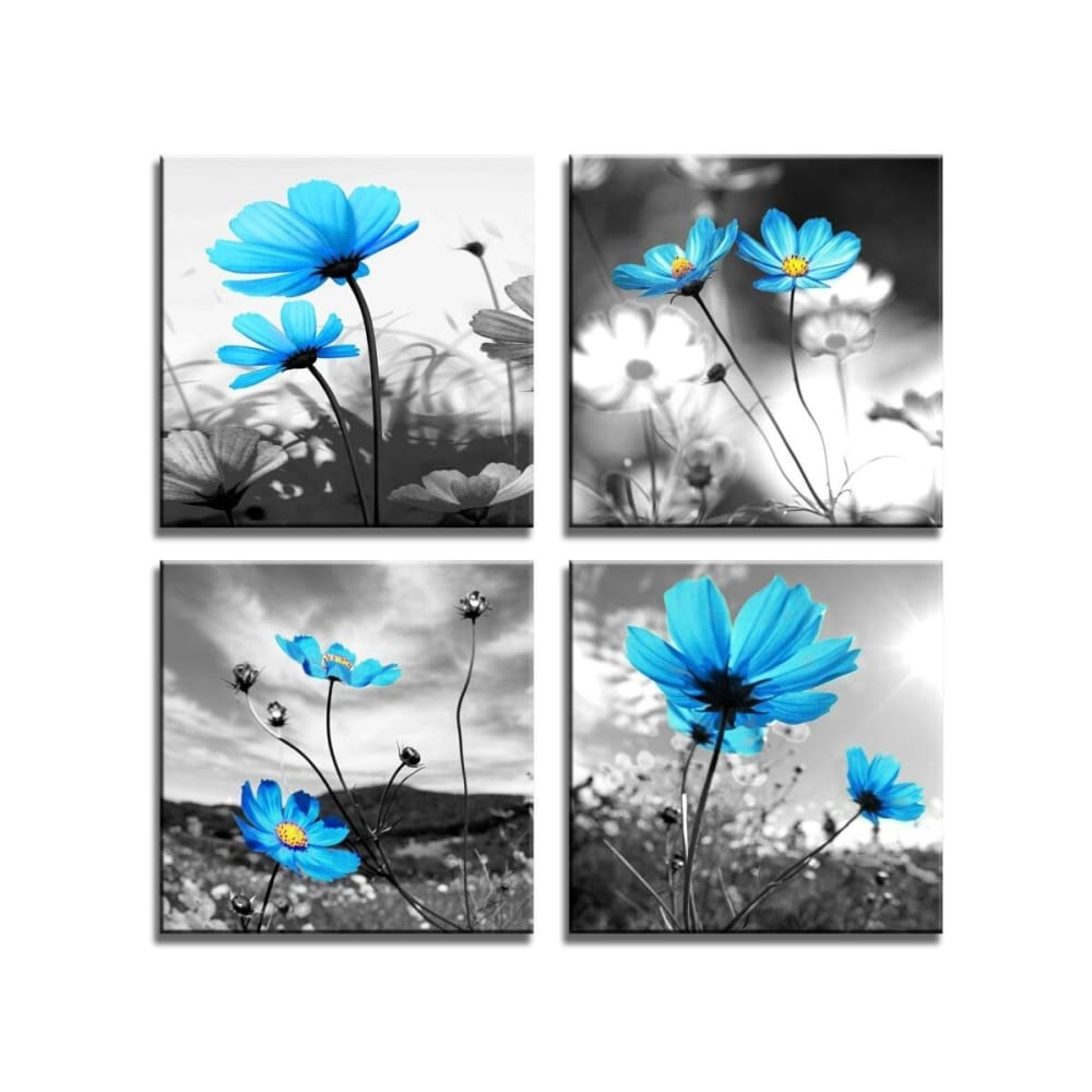 Hlj Art Modern Salon Theme Black And White Peacock Blue Vase Flower Abstract Painting Still Life Canvas Wall Art For Home Decor 12x12inches 4pcs Set