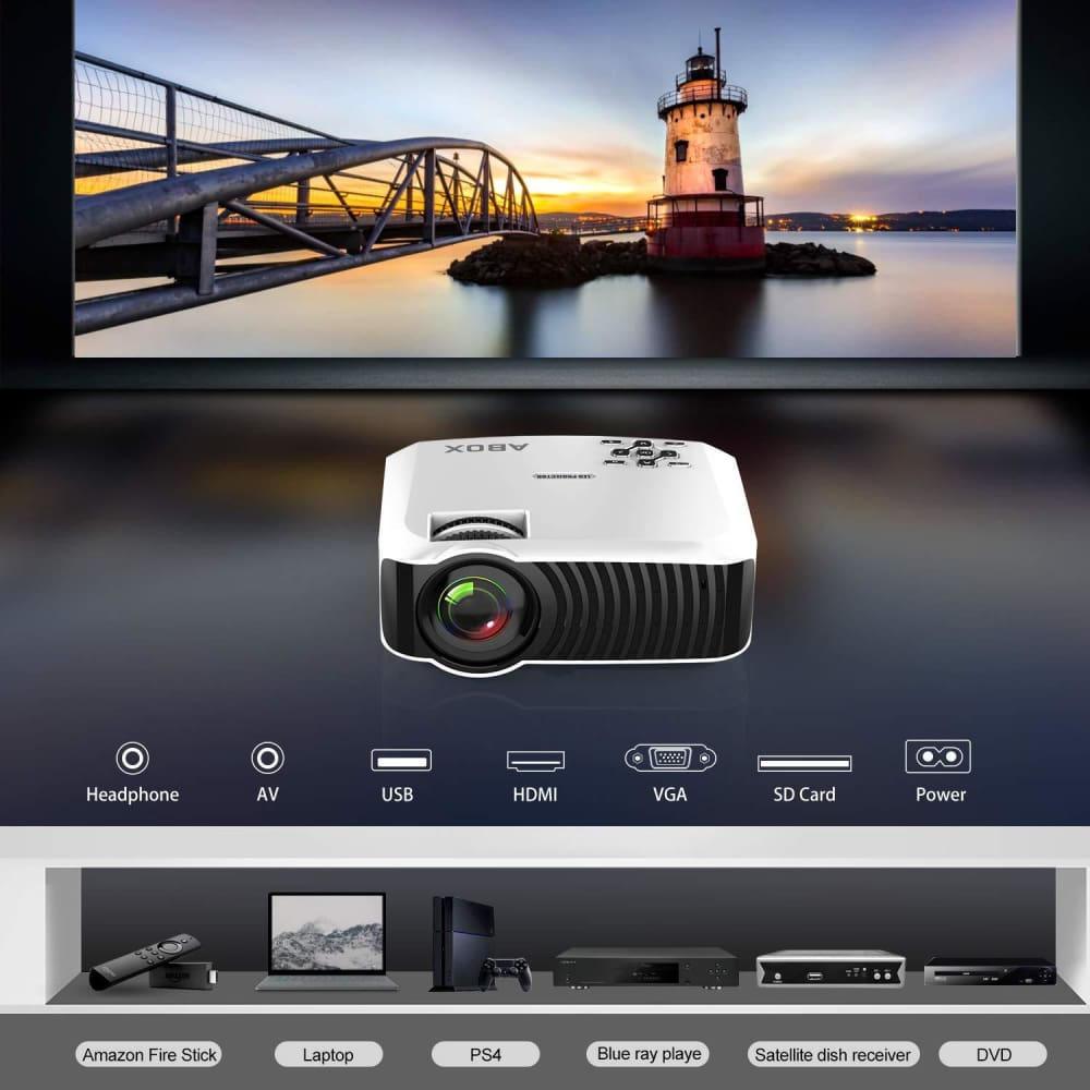 Projector, 2018 Updated ABOX T22 Portable Home Theater LCD Video Projector  Support 1080p HDMI USB SD Card VGA AV Phone Laptops for Home Cinema TV 60