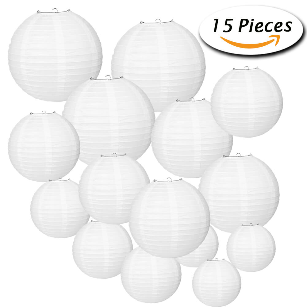 Paxcoo 15 Packs White Round Paper Lanterns with Assorted Sizes for ...