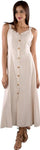 Sleeveless Button-Down Maxi Dress in Cream