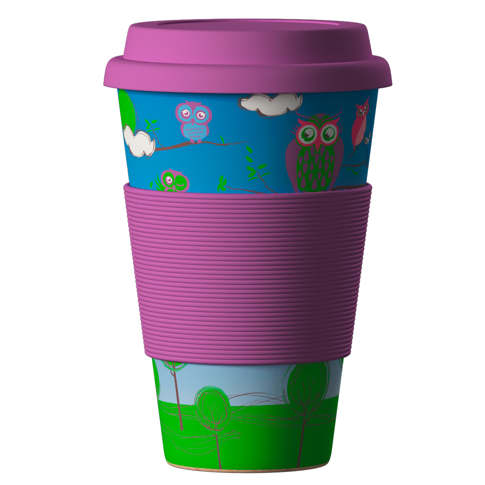 Eco Bamboo Cup Owls 400ml