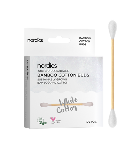 White Bamboo Organic Cotton Buds, Vegan  (100 pcs)