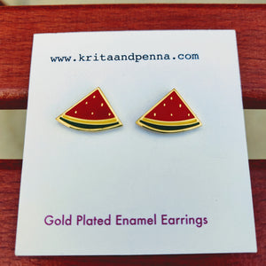 The Whimsical Watermelon Gold Plated Earrings