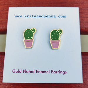 The Congenial Cactus Gold Plated Earrings