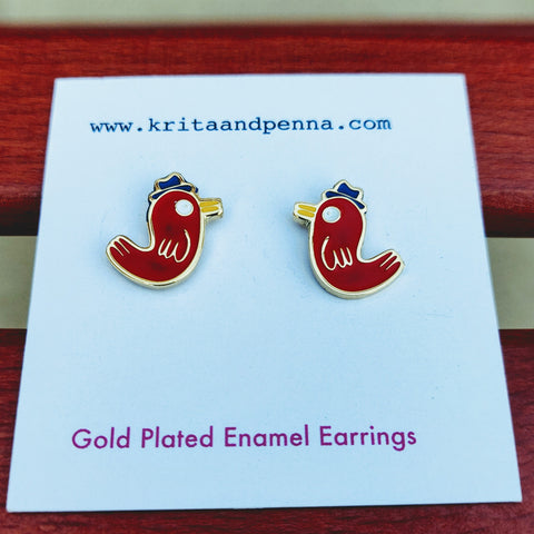 The Brainy Bird Gold Plated Earrings