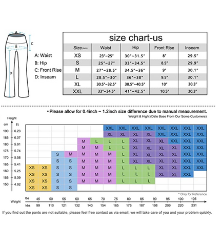 Heathyoga Bootcut Size Guide