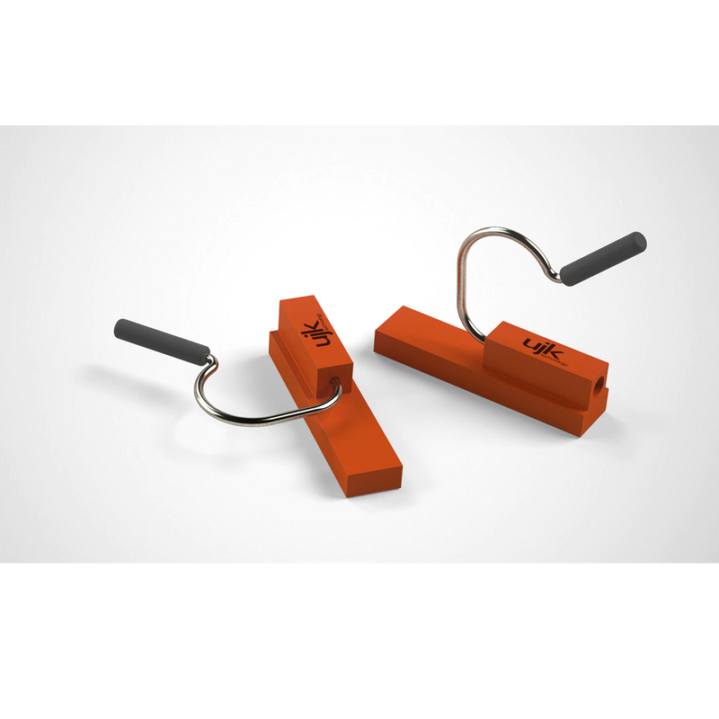UJK Dog Rail Clips have a plastic body that slides into the t-slot of a guide rail and a metal spring clip with cap.