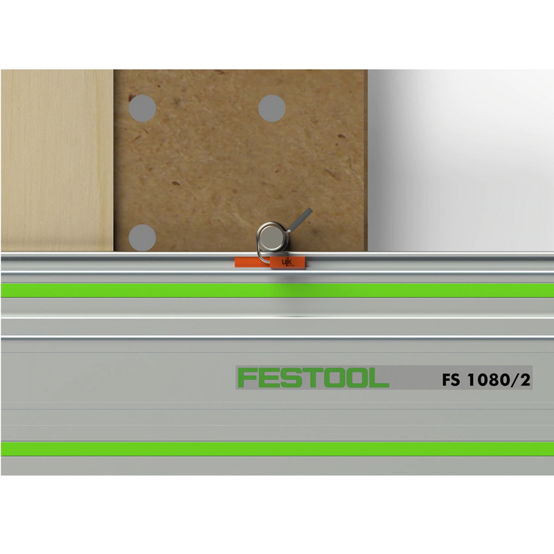 UJK Dog Rail Clips slide into the T-slot of a Festool FS Guide Rail and over a 20mm dog in a MFT or similar work surface.