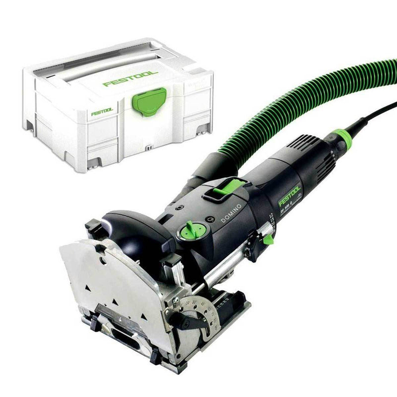 The Festool Domino Joiner has an adjustable fence with alignment triangles and retractable paddles for alignment.