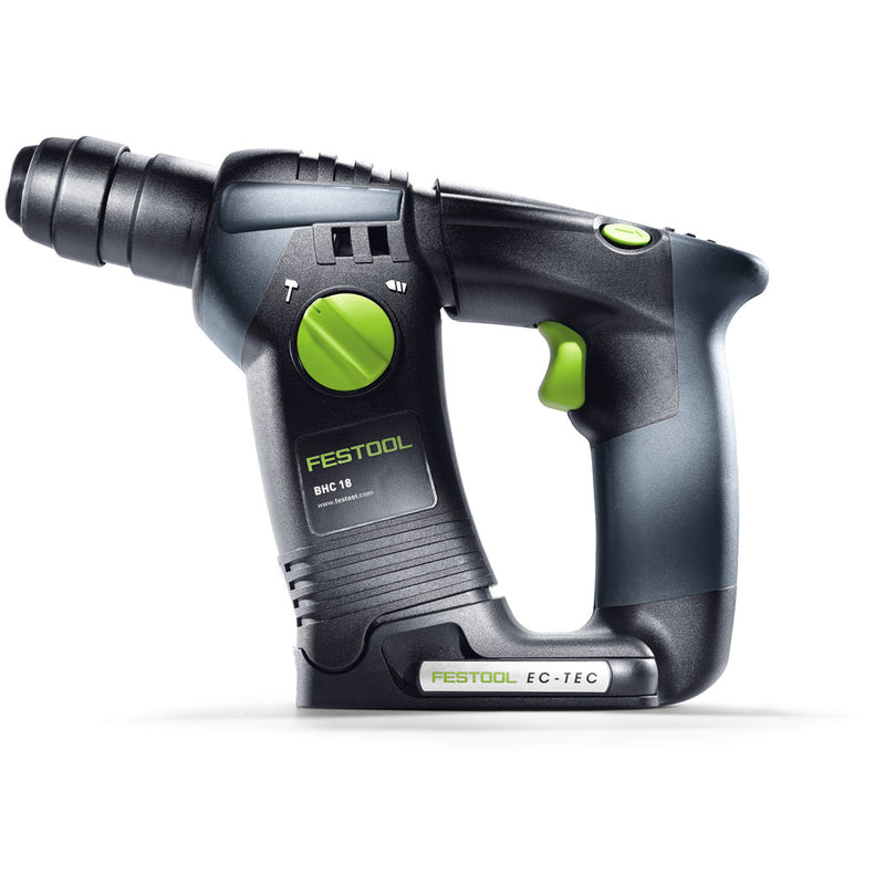 Side view of Festool's BHC 18 SDS Rotary Hammer Drill shows hammer/drill selection knob, trigger, belt clip, reverse.