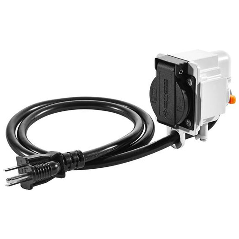 Additional electrical outlet for easy connection of a sleeved vacuum hose with integral Plug-it cord when using CT-VA cyclone