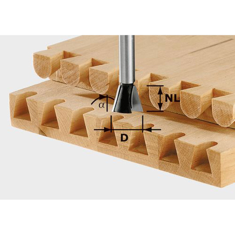 15 degree carbide dovetail router bit for creating dovetail joinery including sliding, through, and half-blind dovetails.