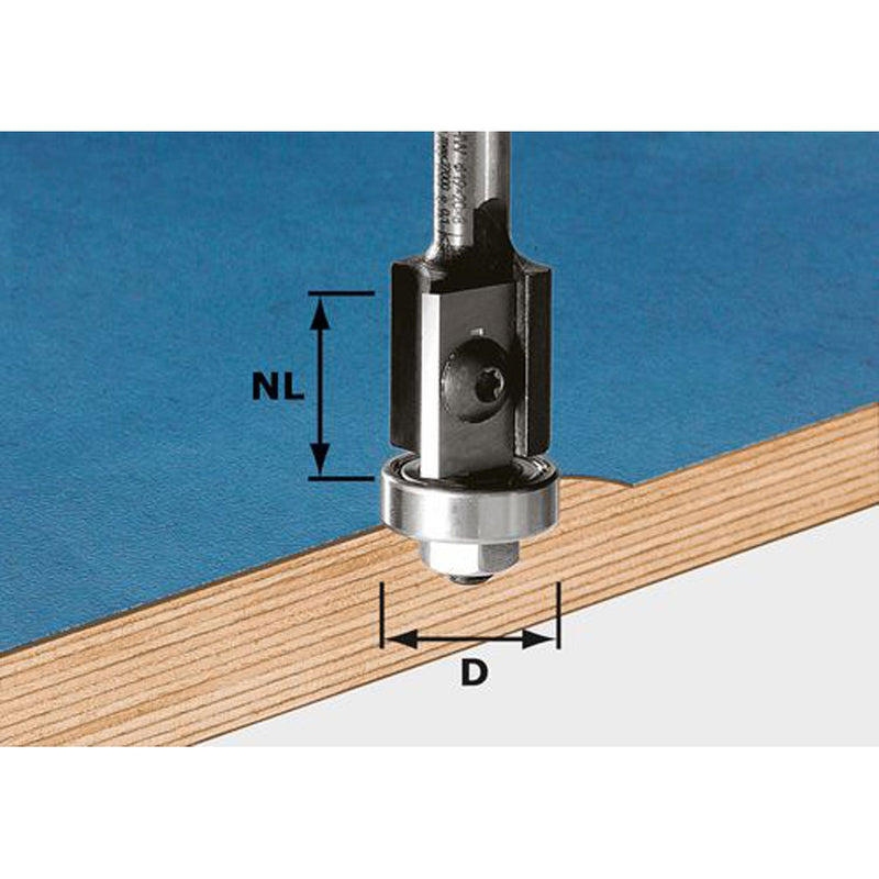 Flush trim router bit for edge trimming. 2-sided carbide insert can be rotated to expose a new edge, or replaced easily.