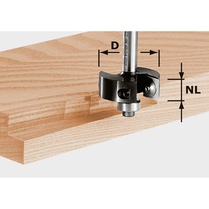 Rabbeting router bit for rebating. 4-sided carbide insert can be rotated to expose a new edge, sharpened or replaced.