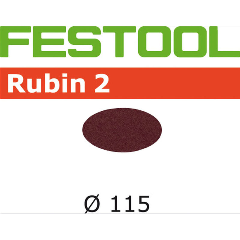 115mm diameter aluminum oxide abrasive Rubin 2 discs with StickFix loop backing for use with Festool RAS 115.4 rotary sander.