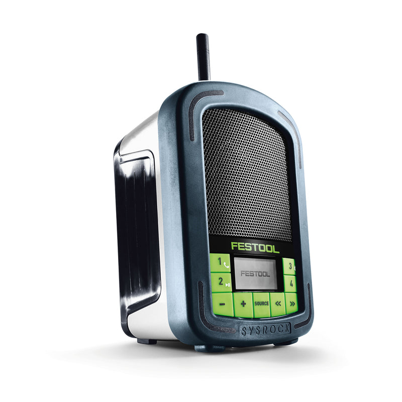 Front right view of Festool SYSROCK BR 10 radio with antenna extended. LCD display with Festool logo, and button on front.