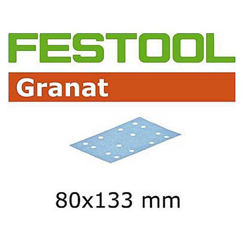 "Festool 80x133 millimetre (3.2x5.2"") Granat StickFix abrasive sheet for RTS 400, RTSC 400, and LS 130 sanders, and HSK block."