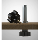 A SpeedKnob clamps a Tall DoubleGroove Bench Dog to a MFT-style worktop, holding is perpendicular to the surface.
