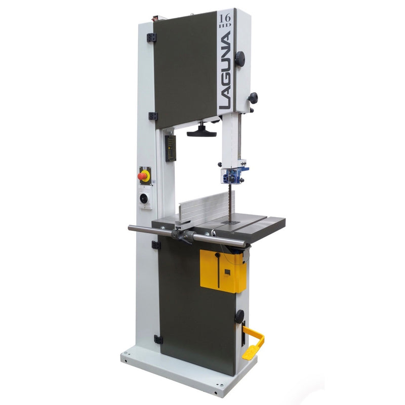 Laguna LT16HD Bandsaw with high/low fence, foot brake, tension adjustment wheel, cast iron table with mitre slot & blade slot
