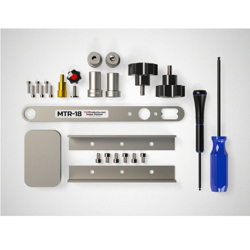 The MTR-18 Master Accessory Kit includes all the accessories for the Precision Triangle - dogs, angles, hardware, and tools.
