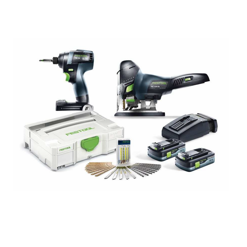 The combo includes a Festool TID 18 Impact Driver, PSC Barrel Grip Cordless Jigsaw, 2 batteries, charger, blades & more.