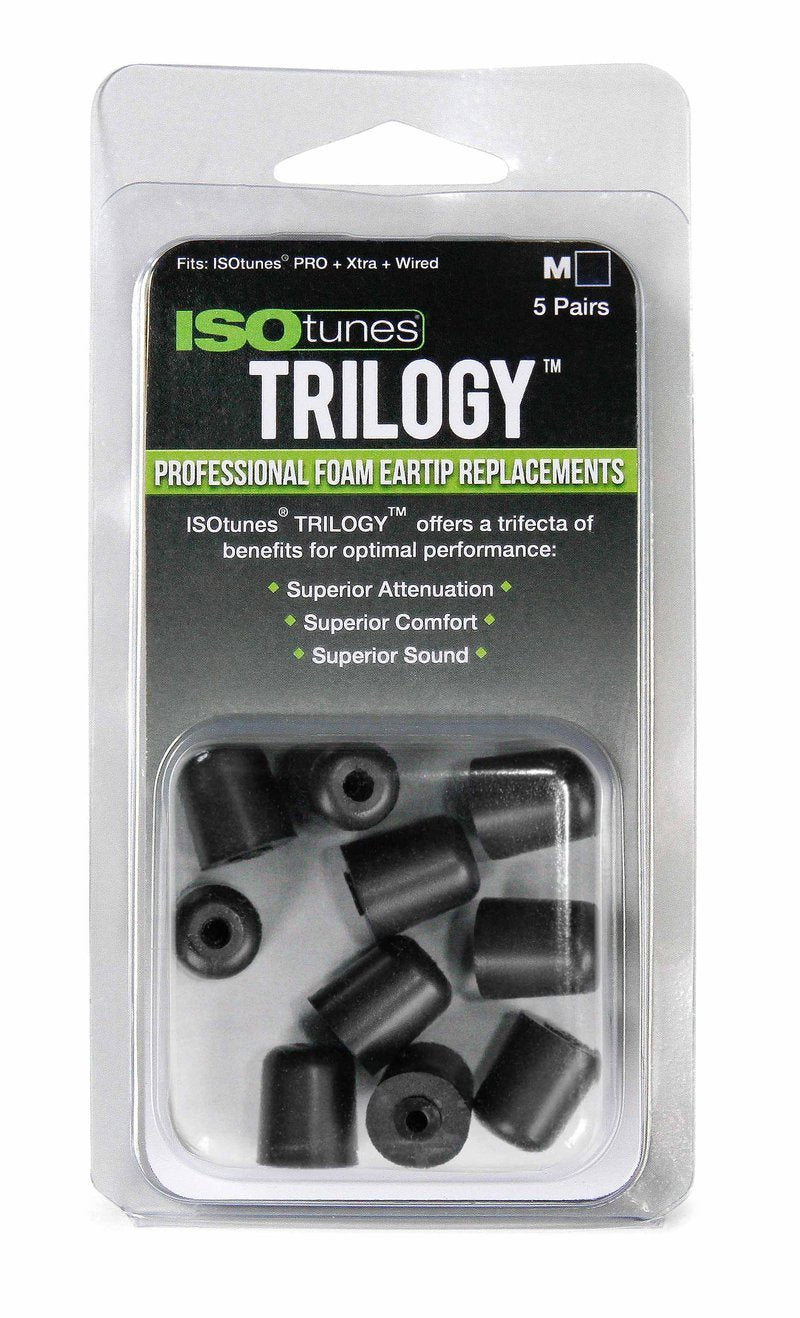 "ISOtunes"" TRILOGY Replacement Foam Ear Tips (5 pairs/pack) - 4 sizes to choose from."