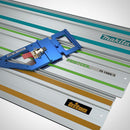 The GRS-16 Guide Rail Square sits on top of three compatible track saw guide rails by Triton, Festool and Makita.