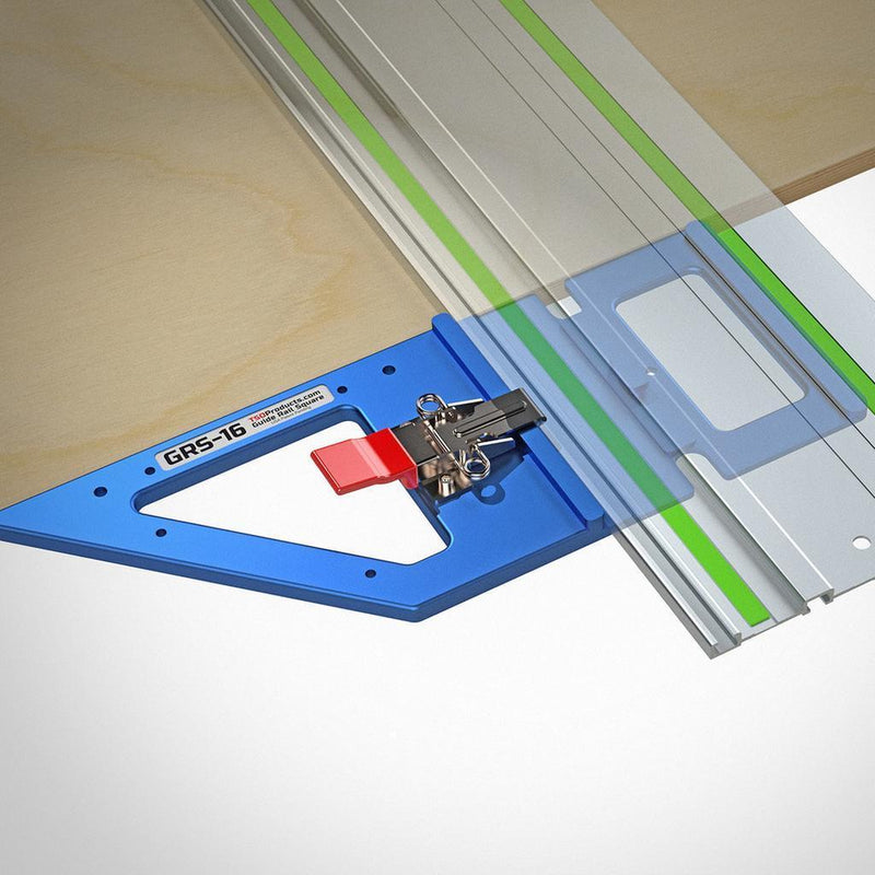 The GRS-16 Guide Rail square being used to align a guide rail square to the edge of a panel of MDF.