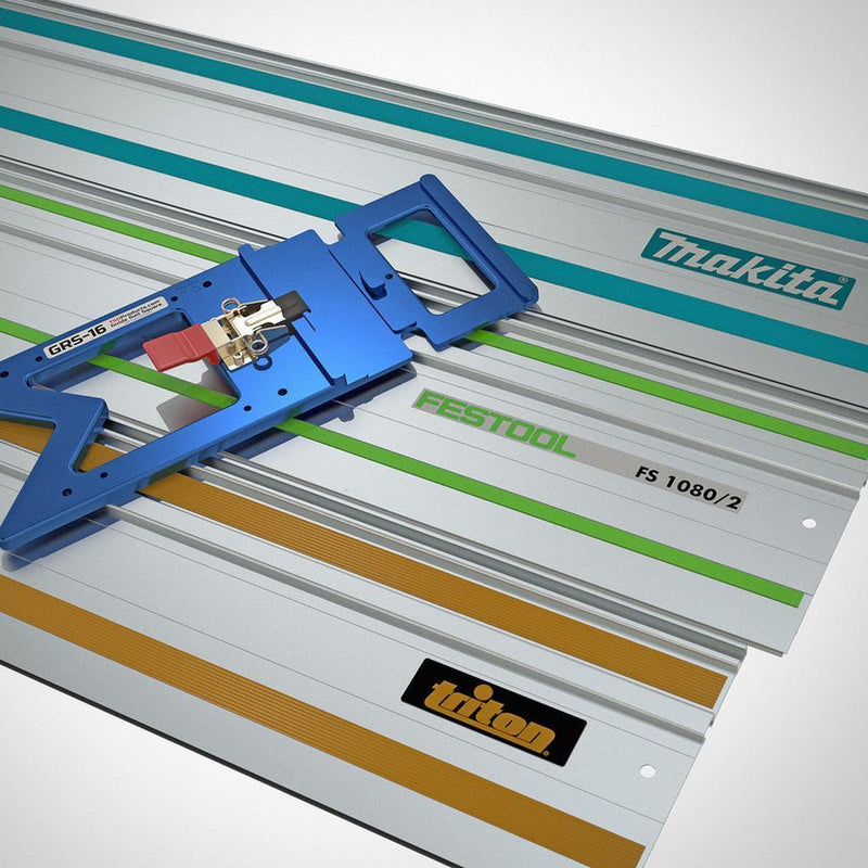 The GRS-16 PE Guide Rail Square sits on top of three compatible track saw guide rails by Triton, Festool and Makita.